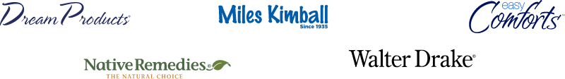 Dream Products brand logo, Miles Kimball brand logo, Easy Comforts brand logo, Native Remedies brand logo, Walter Drake brand logo