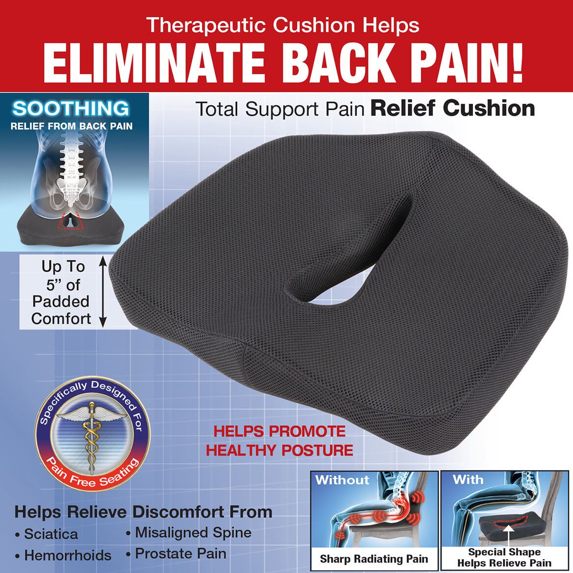 Total Support Pain Relieving Seat Cushion-370347
