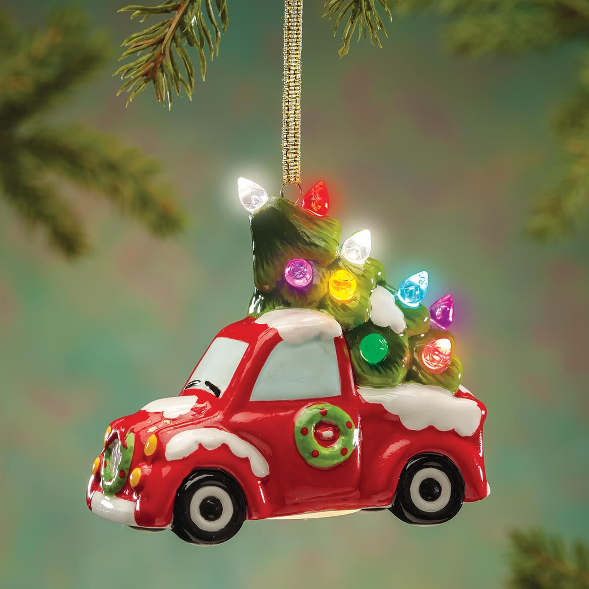 Lighted Red Truck Ornament-372227