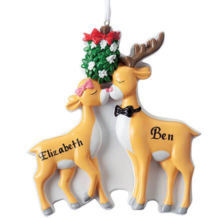 Personalized Kissing Reindeer Couple Christmas Ornament-352638