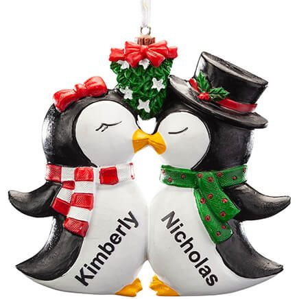 Personalized Kissing Penguins Ornament-368173