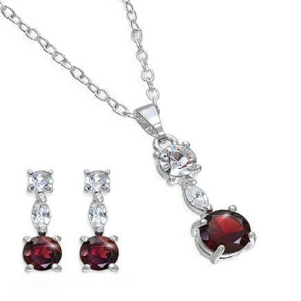 Garnet & Crystal Jewelry Ensemble-369734