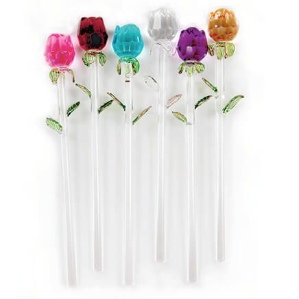 Exquisite Glass Roses S/6-369891
