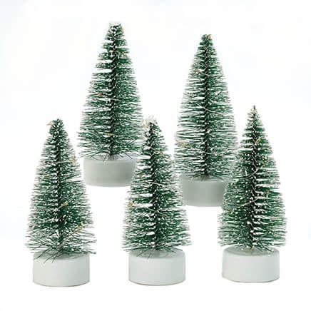 Light-Up Mini Bottle Brush Trees with Timer, Set of 5-371862