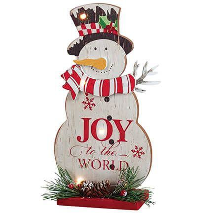 Joy to the World Lighted Snowman Tabletop Pc by Holiday Peak-371866