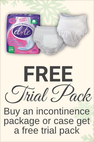 Free trial pack when you buy an incontinence package or case
