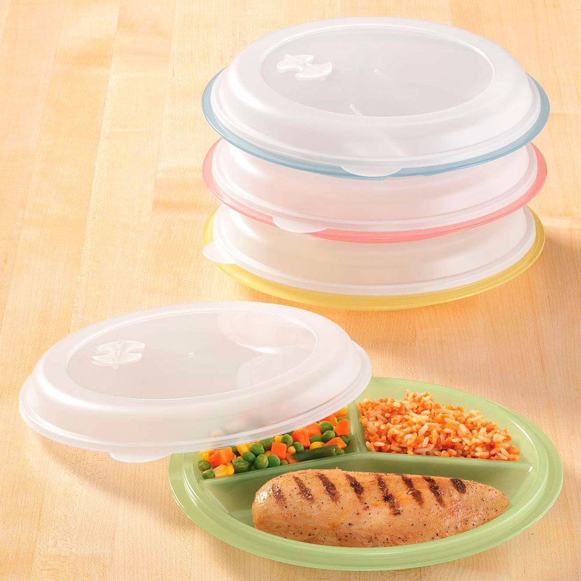 Divided Plates And Food Storage Containers - Set Of 4-303973