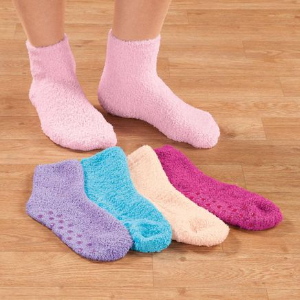 Assorted Plush Socks with Grippers, 5 Pair-358148
