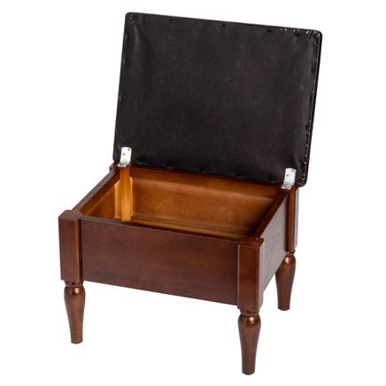Faux Leather Wooden Foot Rest with Storage by OakRidge™-359694