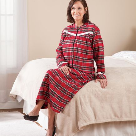 Front Zip Red Plaid Flannel Lounger by Sawyer Creek-368327