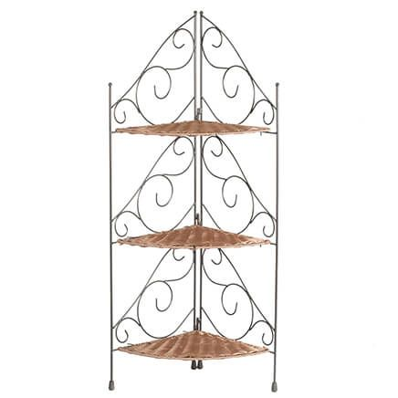 Three Tier Wicker & Metal Corner Shelves by OakRidge™-353925