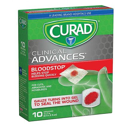 """Curad® Blood Stop Gauze Packets 1""""x 1"""", 10 Count-355325"""