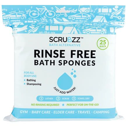 Scrubzz Rinse-Free Bath Sponges, Set of 25-366397