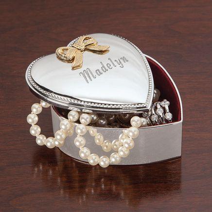 Silverplated Heart Box - Personalized-303369