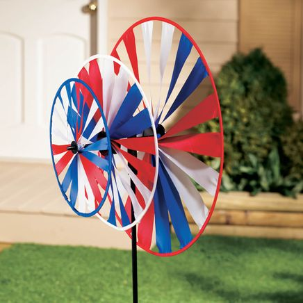 Triple Pinwheel Patriotic Wind Spinner-311952