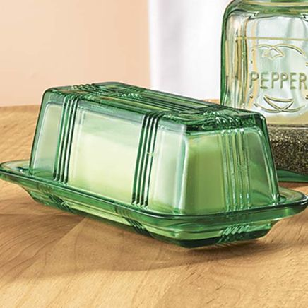 Green Depression Style Glass Butter Dish-315705