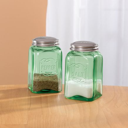 Green Depression Style Glass Salt & Pepper Shakers-315706