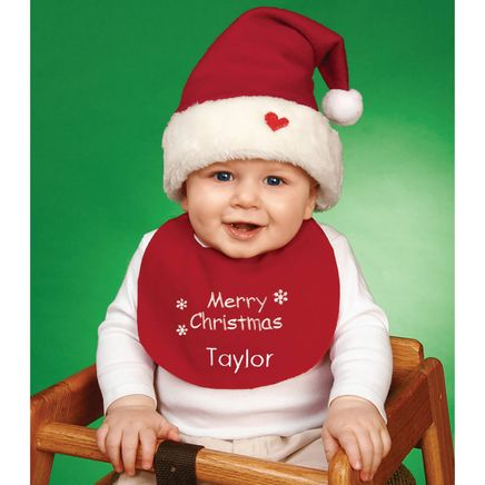 Personalized Childrens Christmas Hat & Bib Set-316844