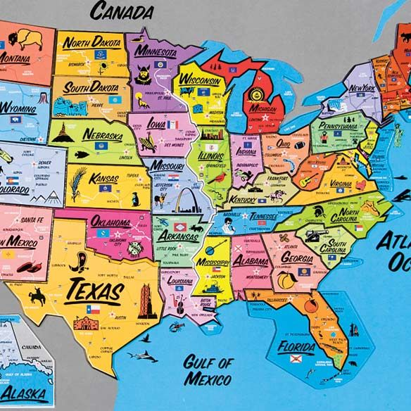 USA Magnetic Map Puzzle-331252