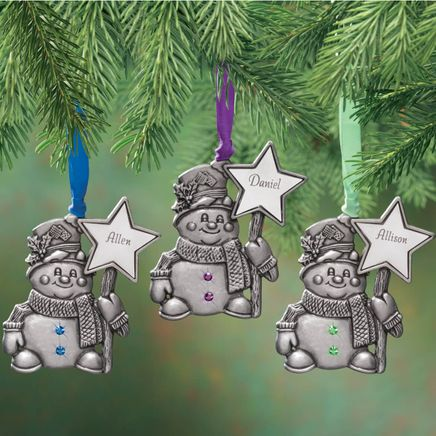 Personalized Pewter Birthstone Snowman Ornament-343050