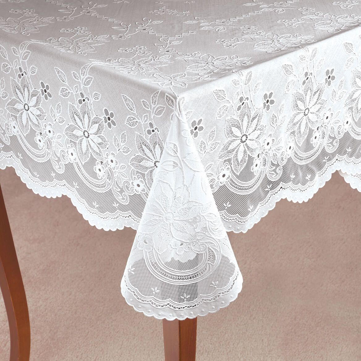 Elegant Floral Vinyl Lace Table Cover-344554