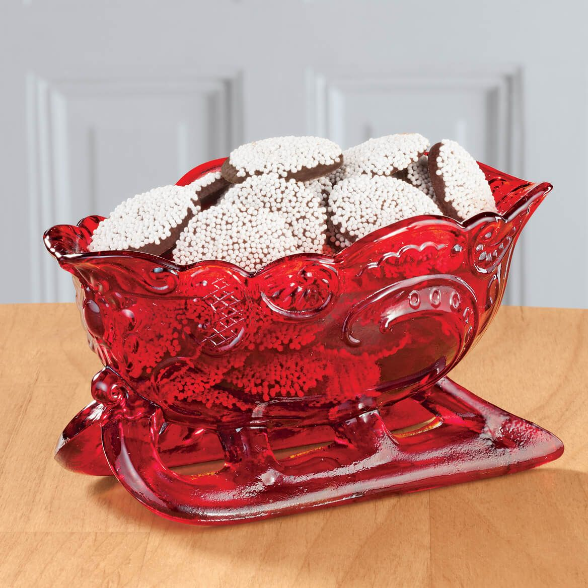 Red Glass Sleigh Candy Dish-346174