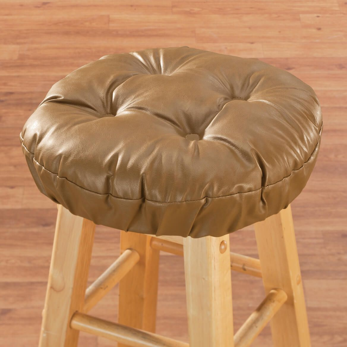 Faux Leather Tufted Bar Stool Cushion-347608
