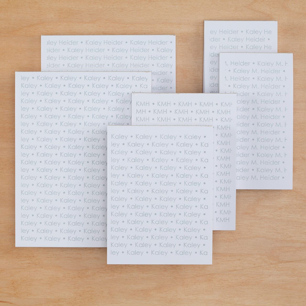 Personalized Repeating Name Notepads Refill Set of 6-349467