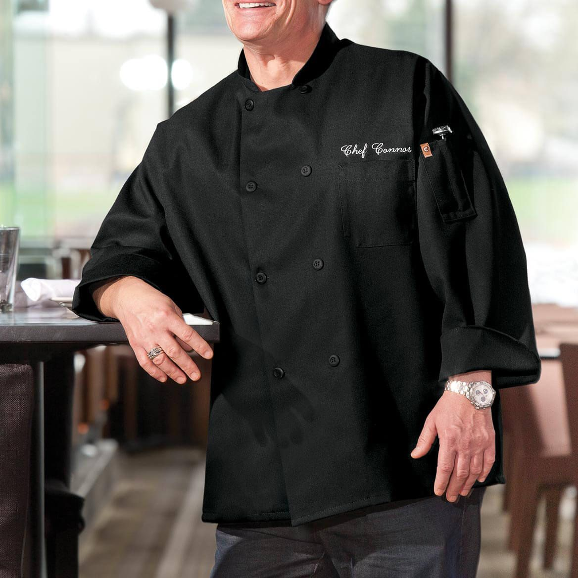 Chefs Jacket Black  Personalized-349541