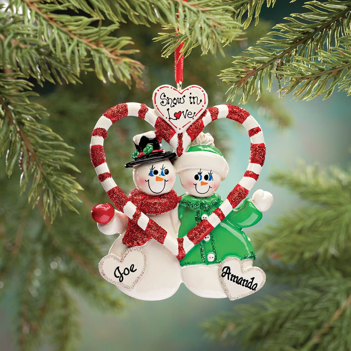 Personalized Candy Cane Snow Couple Ornament-349667
