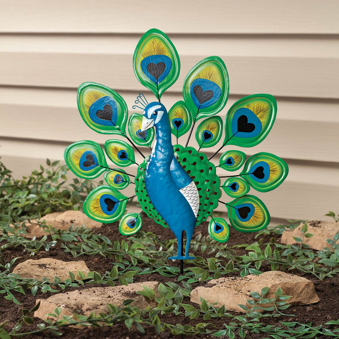 Peacock Lawn Stake by Fox River Creations™-351105