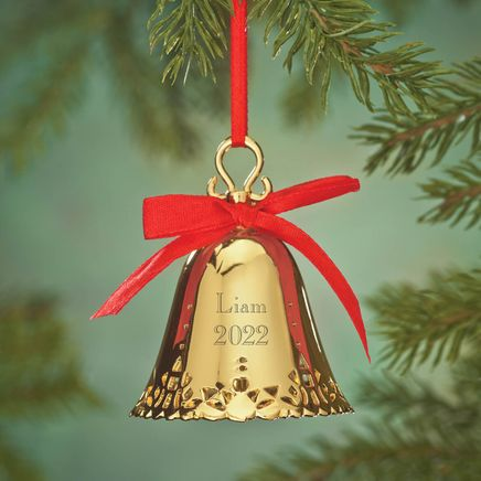 Personalized Gold Tone Plated Christmas Bell Ornament-353280