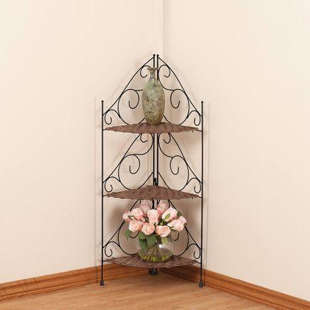 Three-Tier Wicker & Metal Corner Shelf by OakRidge™-353925