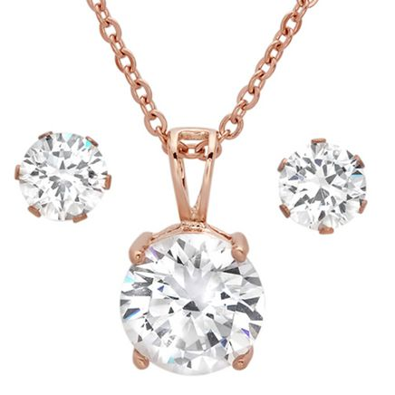 CZ Earring and Necklace Set-354131