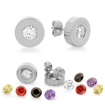 Interchangeable CZ Stud Earrings-354156