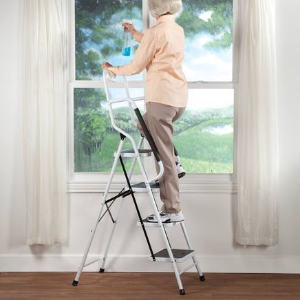 Folding Four Step Ladder with Handrails by LivingSURE™-354173