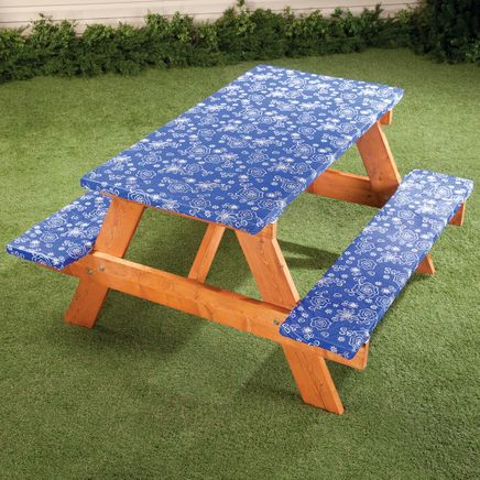 Fanciful Flowers Deluxe Picnic Tablecover-355451