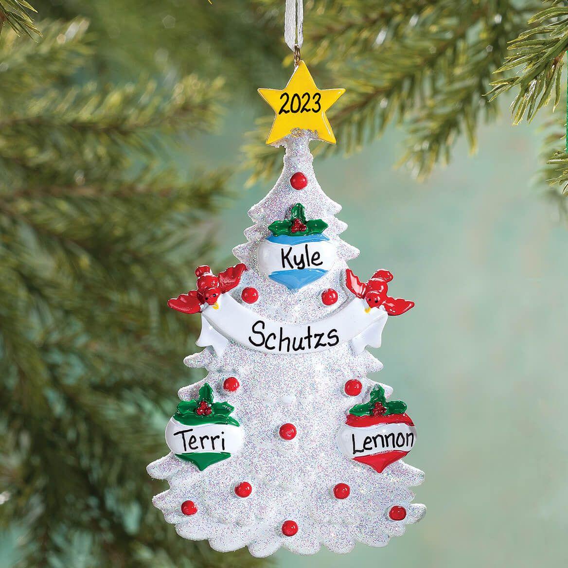 Personalized White Glitter Tree Ornament-355741