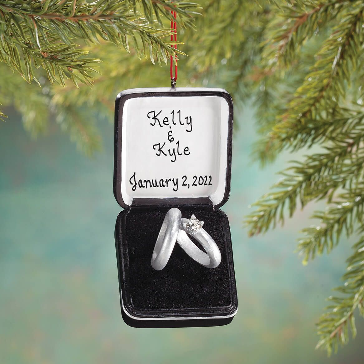 Personalized Wedding Ring Box Ornament-355816