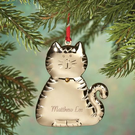 Personalized Brass Birthstone Cat Ornament-356114