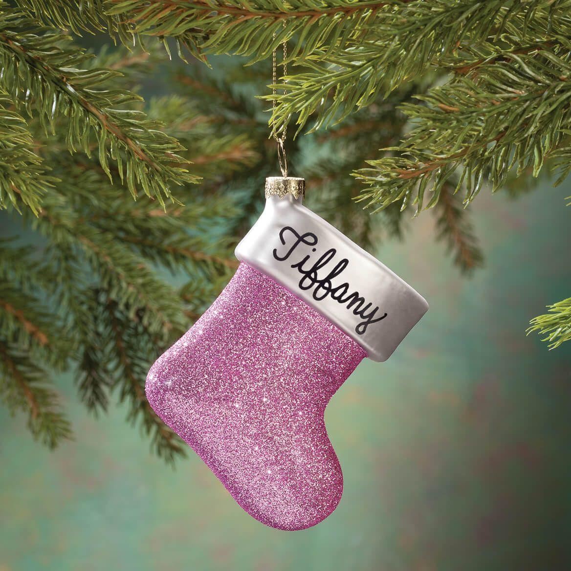 Personalized Birthstone Glitter Stocking Ornament-356452