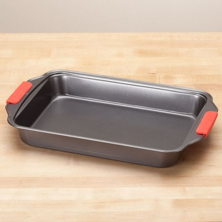 Rectangular Cake Pan with Red Silicone Handles by Home-Style Kitchen™-356754