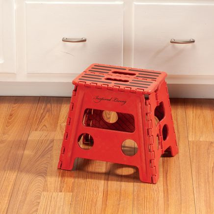 Red 13 Inch Folding Step Stool-356931