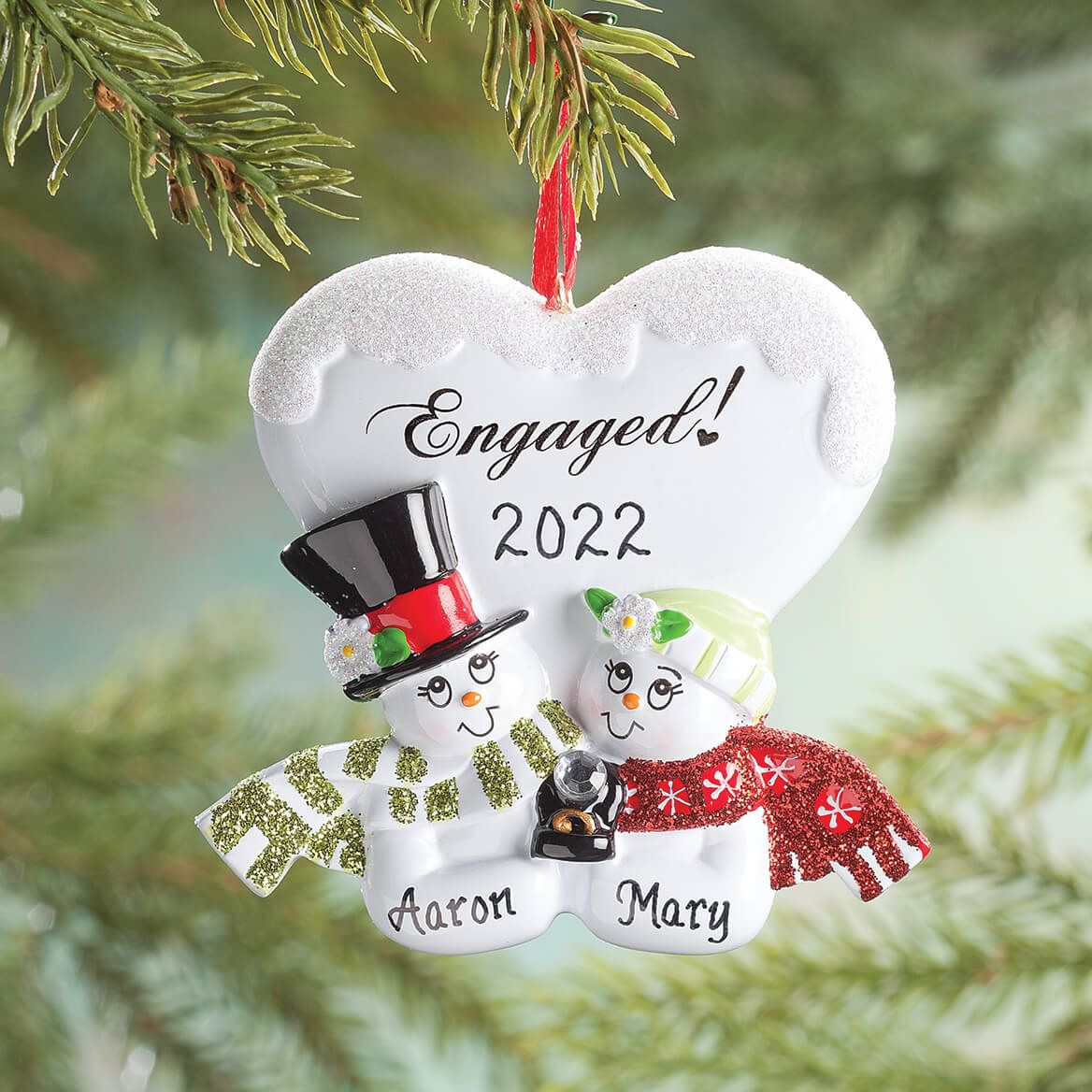 Personalized Engaged Snowmen Ornament-357204