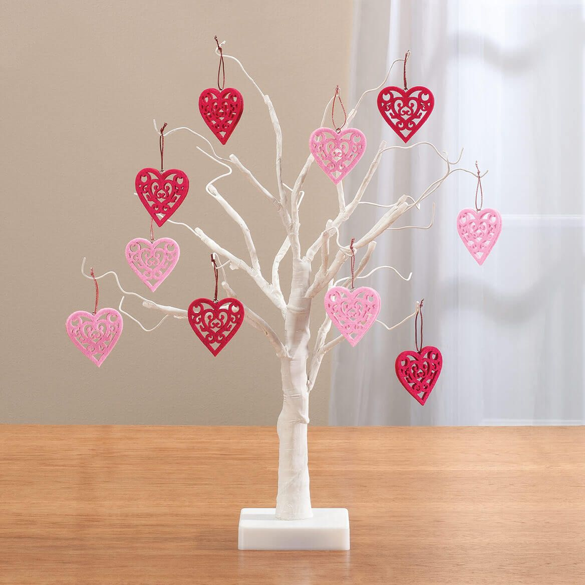 """White Wire 18"""" Tree with Valentine's Hanging Ornaments-358084"""