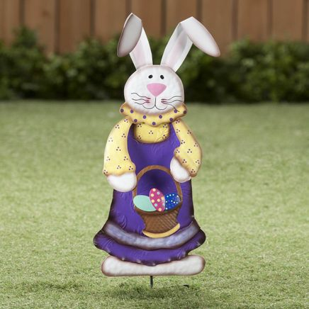 Metal Easter Bunny Girl Garden Stake by Fox River™ Creations-358203