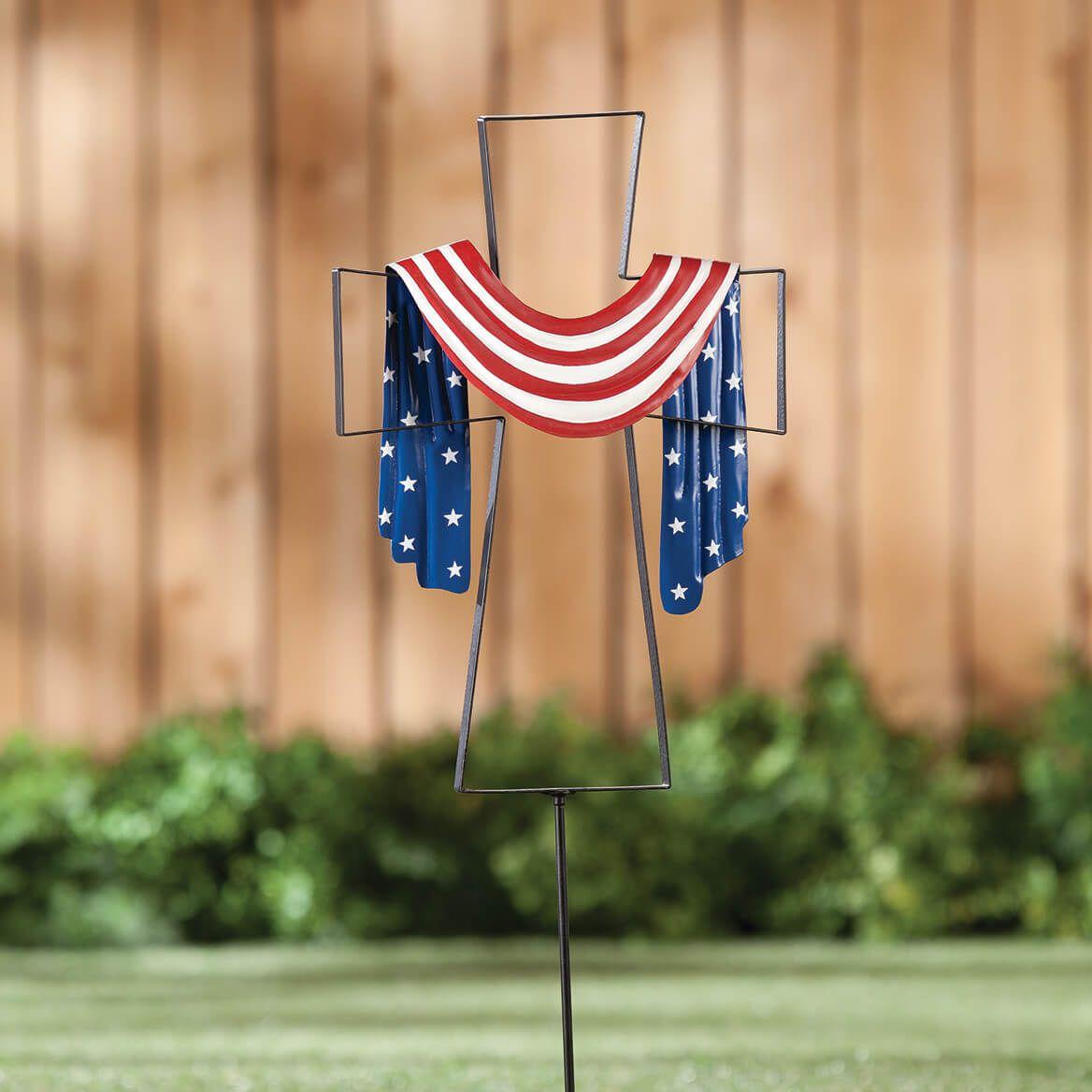 Metal Patriotic Cross Stake by Fox River™ Creations-359071