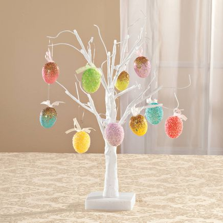 White Wire Tree and Easter Ornaments, Set of 10-359221