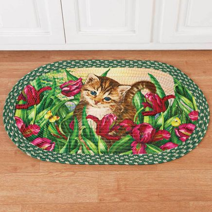 Kitten in Flowers Braided Rug by OakRidge™-359241