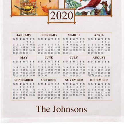 Personalized Birds of the Season Calendar Towel-360135